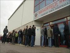 Crawley fans queueing