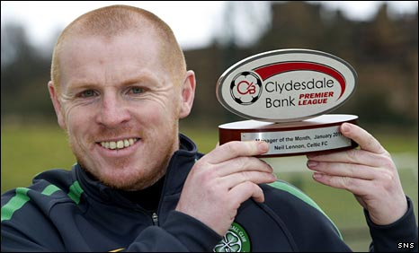 Celtic manager Neil Lennon with his award