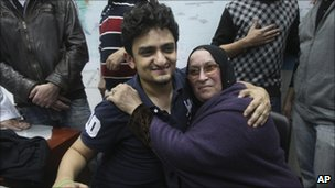 Wael Ghonim, a Google executive, hugs the mother of Khaled Said, a young businessman who died last June at the hands of undercover police, at Cairo's Tahrir Square. Photo: 8 February 2011