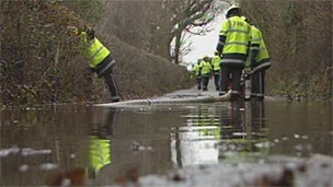 Fire crew at flooding incident in Powys (library)