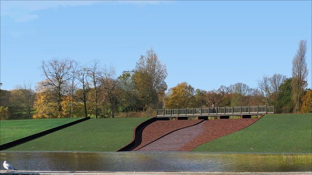 Artists' impression of how they dam might look at Hampstead Heath