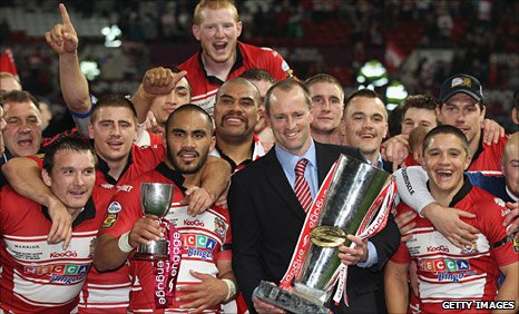 Wigan celebrate last year's Grand Final win
