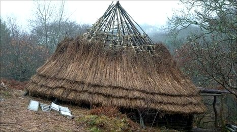 The impressive Iron-Age inspired roundhouse being built at Saveock Mill near Chacewater by Jacqui Woods and friends