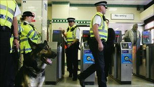 Police in an Underground station
