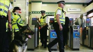 Police in an Underground station