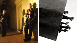 Images from New World Order performance (left) and an installation to be shown in the Old Municipal Market (right)