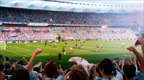 An artist's impression of the Olympic Stadium under West Ham