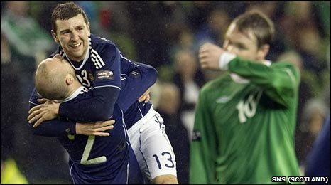 James McArthur celebrates his goal with Scotland team-mate Alan Hutton