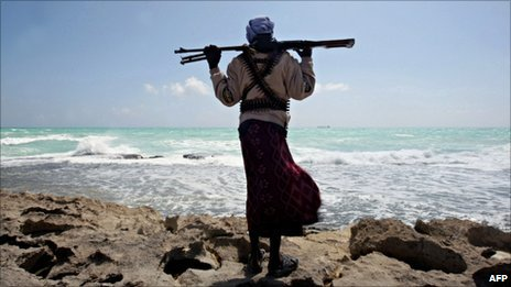 Armed man on coast off Somalia. File photo