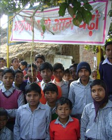 Students outside the Nalanda Public Shiksha Niketan School in Banka