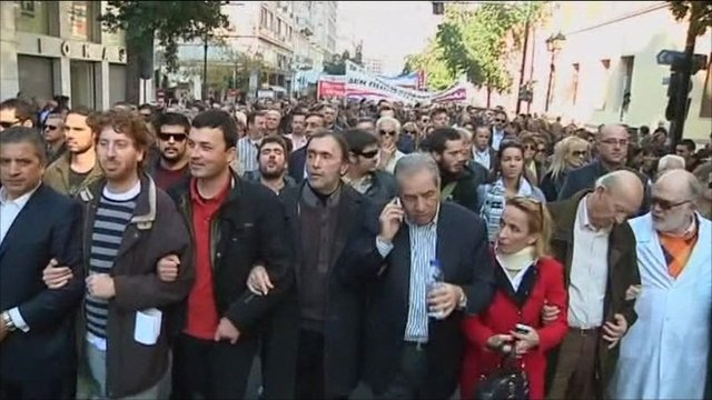Greek doctors protesting in Athens