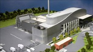 The proposed waste incinerator at Battlefield outside Shrewsbury