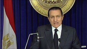 President Mubarak TV address 10 February