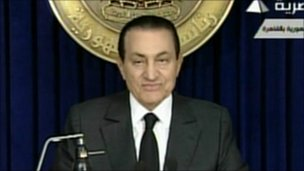 President Hosni Mubarak on state TV - 10 February 2011