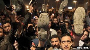 Protesters in Tahrir Square listening to Mr Mubarak's speech - 10 February 2011