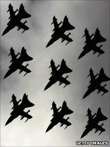 Tornado jets flying in formation