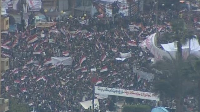 Protesters gathered in Tahrir Square, Cairo