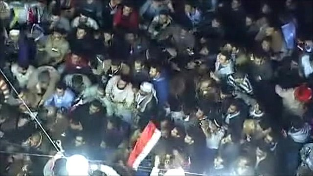 Egyptian protesters celebrating in Tahrir Square