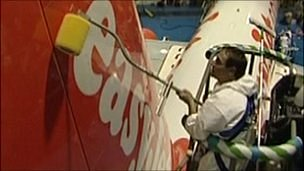 Man applying new coating to Easyjet plane