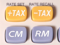 Calculator buttons with plus and minus tax buttons