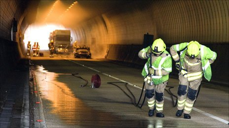 Fire crew after Brynglas tunnel fire Pic: South Wales Fire Service