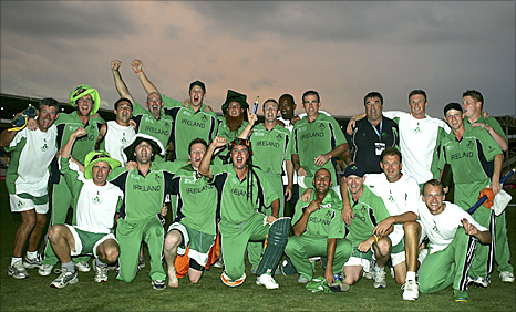 Ireland celebrate beating Pakistan