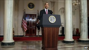President Barack Obama makes a statement on the resignation of Egypt's President Hosni Mubarak in the Grand Foyer at the White House in Washington, 11 February 2011.