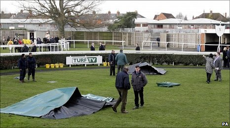 The aftermath in the paddock at Newbury