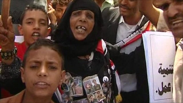 Protesters on the streets of Yemen