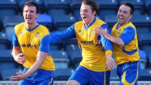 Paddy Larkin of Dunmurry Rec scored the equaliser against Linfield