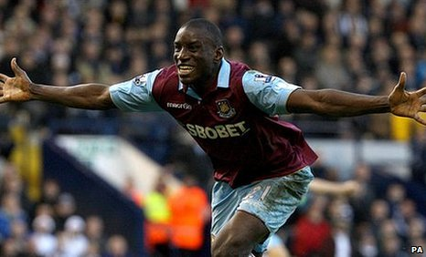 Demba Ba celebrates his winner for West Ham