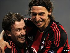 Cassano and Ibrahimovic celebrate