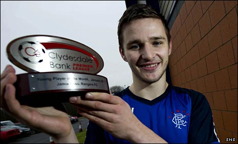 Jamie Ness with his Clydesdale Bank award