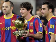 Andres Iniesta, Lionel Messi and Xavi