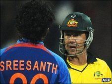 Sreesanth and Ricky Ponting square up in a feisty exchange