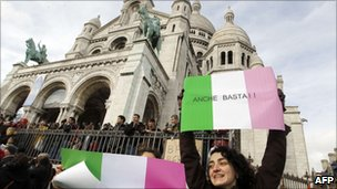Anti-Berlusconi protest at the Sacre Coeur in Paris, France (13 Feb 2011)