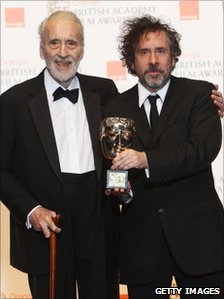 Sir Christopher Lee with Tim Burton