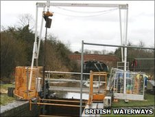 Work on a canal lock