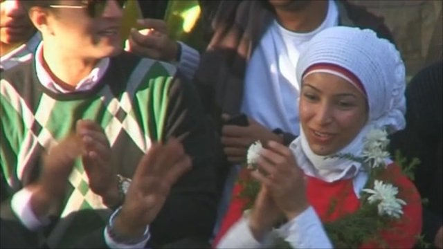 Egyptians celebrating in the streets