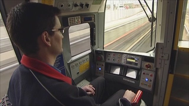 Inside the cab of a Jubilee Line Tube train