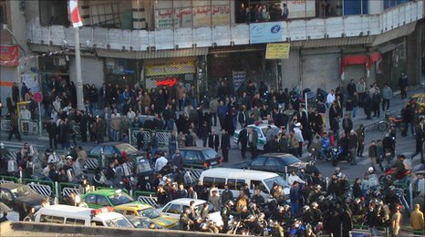 Security forces and crowds gather in Azadi Avenue, central Tehran