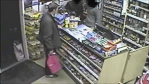 Samuel Guidera in a shop minutes before being stabbed to death