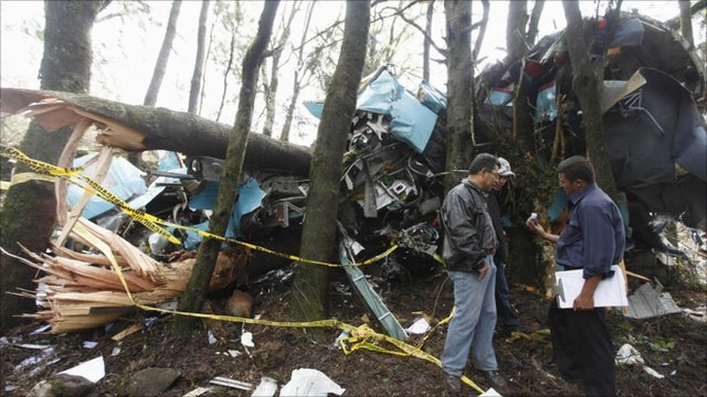 Wreckage from the crashed plane