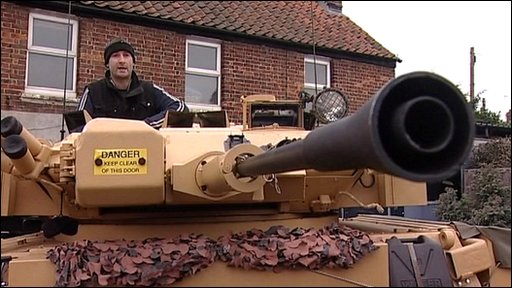 Shaun Mitchell, who has an army tank in his garden!