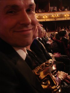 Paul Franklin with his Bafta at the Royal Opera House