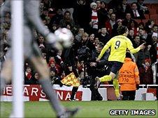 Zlatan Ibrahimovic celebrates Barceloa's first goal against Arsenal in 2010