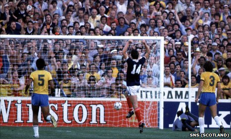 Dave Narey celebrates a wonderful goal against Brazil at the 1982 World Cup