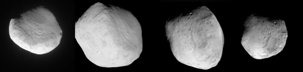 Four views of comet Tempel 1 as the Stardust spacecraft swept past. 