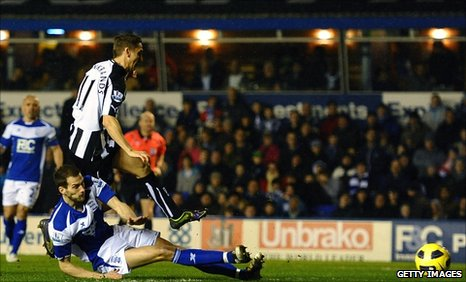 Peter Lovenkrands opens the scoring for Newcastle