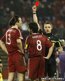 Paul Hartley was sent off early in the second half